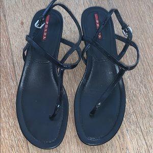 Prada Black Leather Thong Demi Wedge Sandal